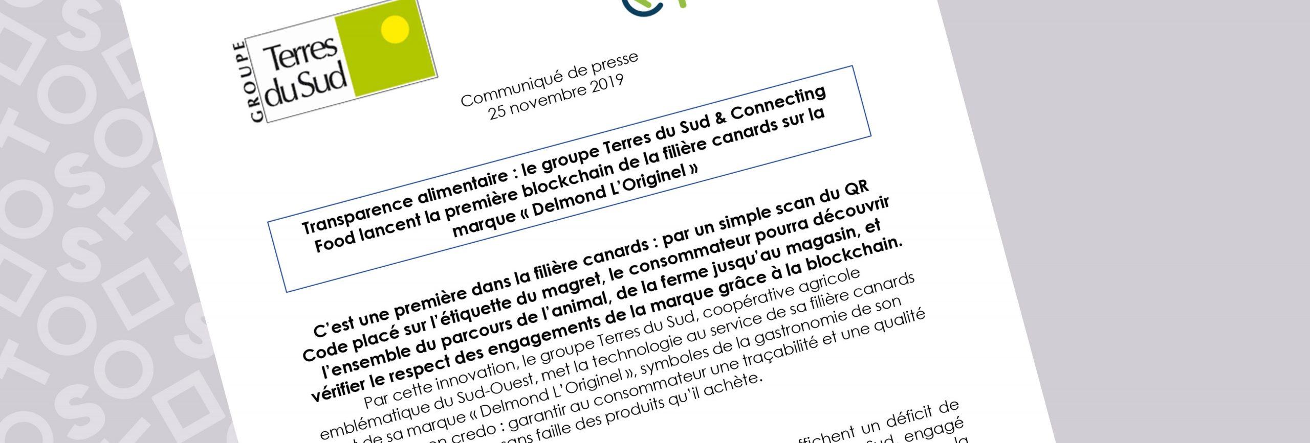 Communiqué de presse groupe terres du sud, lancement de la blockchain canards sur delmond foie gras