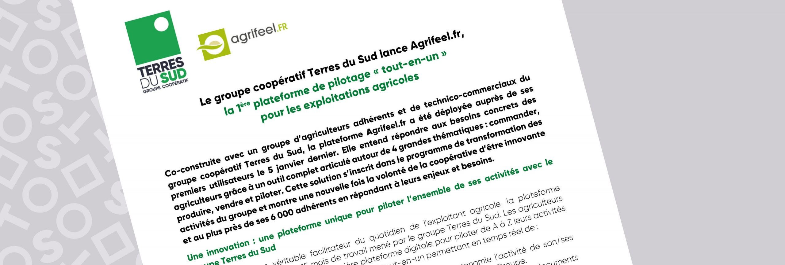 Communiqué de presse Agrifeel.fr terres du sud