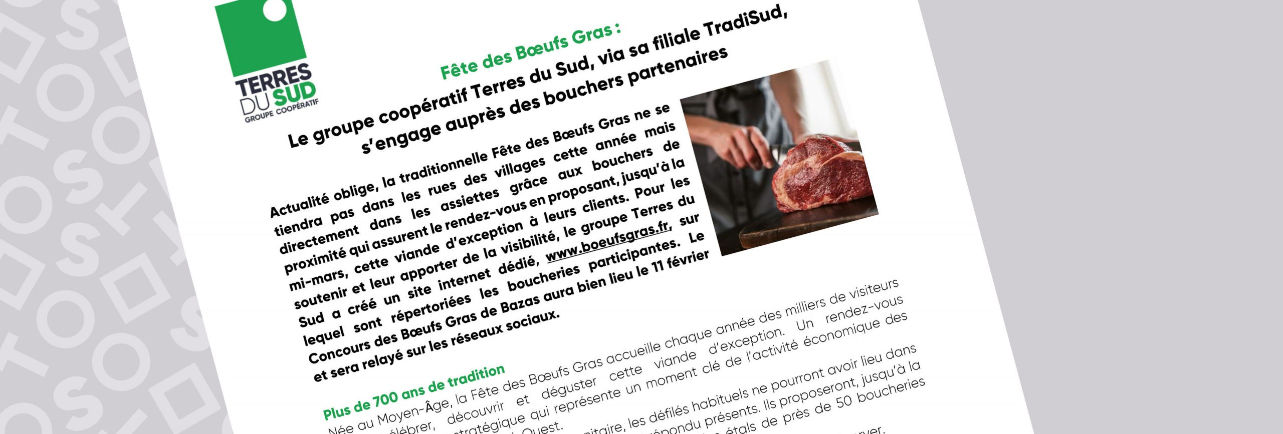 Fête des bœufs gras 2021 avec les boucheries partenaires tradisud, groupe terres du sud